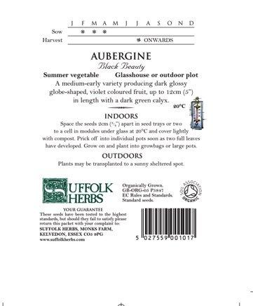 Organic Aubergine Seeds – Black Beauty