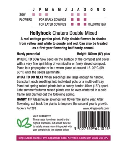 Hollyhock Charters Double Mixed seeds
